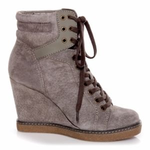 bdf308cbb9e Report Shoes - Report Nadja Grey Studded Lade Up Wedge Booties